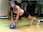 plank using a medicine ball small